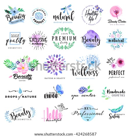 Set of hand drawn watercolor labels and badges for beauty, healthy life and wellness. Vector illustrations for graphic and web design, for cosmetics, natural products, spa, beauty center. - stock vector