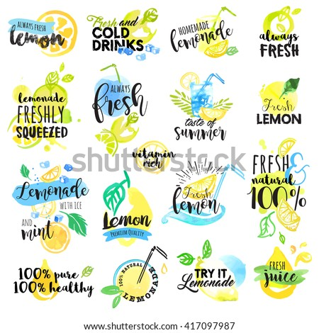 Set of hand drawn watercolor labels and signs of lemon and lemonade. Vector illustrations for graphic and web design, for restaurant and bar, menu. - stock vector