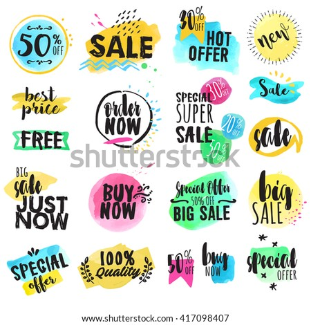 Set of hand drawn watercolor labels and stickers for sale. Vector illustrations for graphic and web design, for shopping, e-commerce, sale and discount, product promotion, web banner and badges. - stock vector