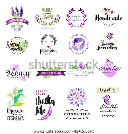 Set of hand drawn watercolor signs for beauty and cosmetics. Vector illustrations for graphic and web design, for natural and organic products, healthy life, beauty care. - stock vector