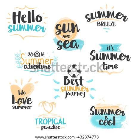 Set of hand drawn watercolor Summer Labels and Badges. Vector Illustration - stock vector
