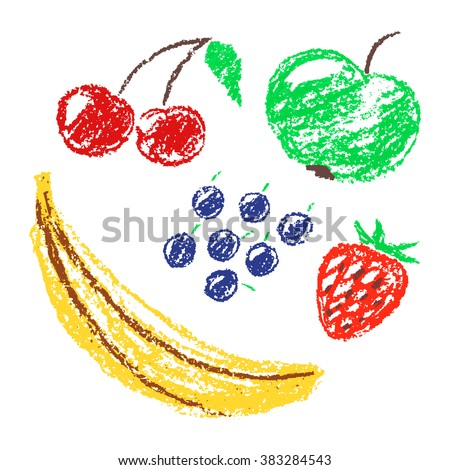 Set of hand drawn wax crayon fun color juicy fruits. Hand painted strawberry, banana, apple, blueberries, cherries, currant. Vector collection on white background. - stock vector