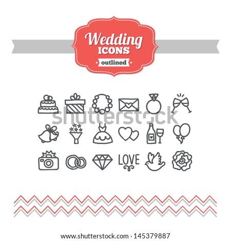 Set of hand drawn wedding icons - stock vector