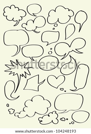 Set of hand drawn word bubbles for text insertion - Vector - stock vector