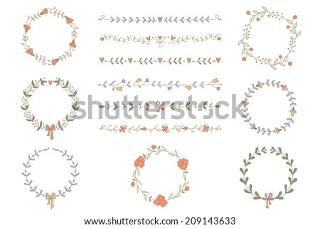 Set of hand drawn wreaths and boarders. EPS 10. No transparency. No gradients. - stock vector