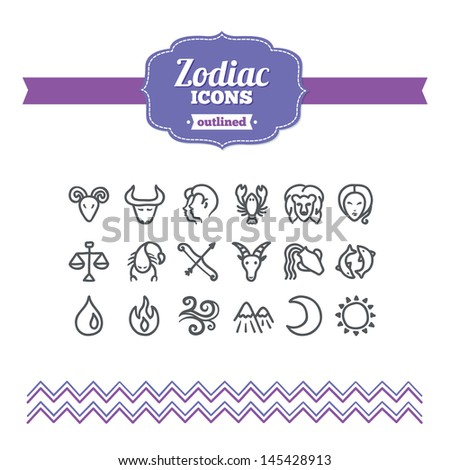 Set of hand drawn zodiac icons - stock vector