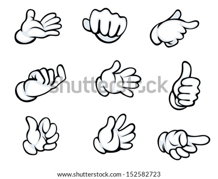 Set of hand gestures in cartoon style for comics design. Jpeg version also available in gallery - stock vector