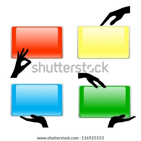Set of hand holding card - stock vector
