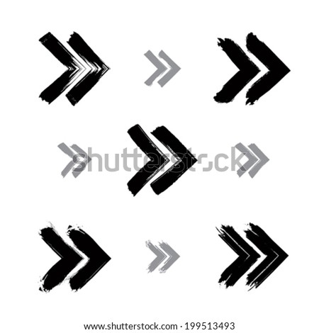 Set of hand-painted rewind signs isolated on white background, simple monochrome rewind icons created with real hand-drawn ink brush scanned and vectorized. - stock vector