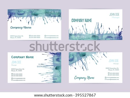 Set of hand painted watercolor horizontal business card templates. Colorful, bright abstract, blue and green brush stocks and splashes on a white background. Complied with the standard size. - stock vector