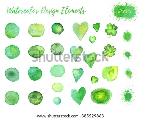 Set of hand painted watercolor vector design elements. Hearts, four leaf clovers, paint blots and splashes isolated on a white background. Easy to use and edit. Each element is grouped separately. - stock vector