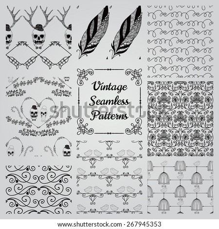 Set of 8 Hand Sketched Doodle Decorative Seamless Backgrounds. Pattern Swatches with Transparent Background. Vector Illustration. - stock vector