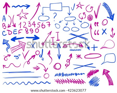set of hand-sketched icons. Elements for planning or text correction. Hand-drawn arrows. Pink and blue elements.  - stock vector