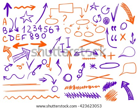 set of hand-sketched icons. Elements for planning or text correction. Hand-drawn arrows. Purple and orange elements.  - stock vector