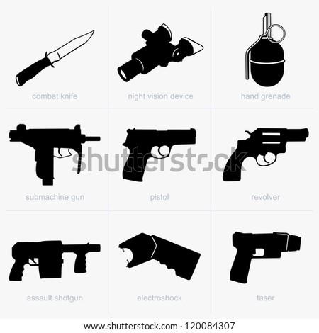 Set of hand weapons - stock vector