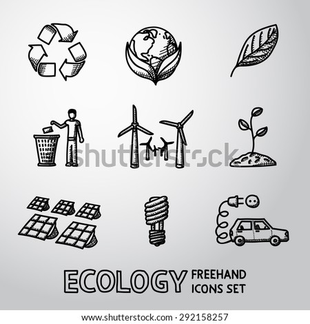Set of handdrawn ECOLOGY icons with - recycle sign, green earth, leaf, garbage disposal, wind power station, plant, solar power station, light bulb, electro car. Vector - stock vector