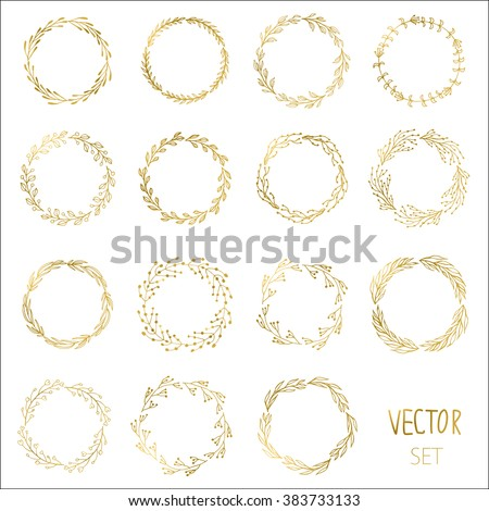 Set of 15 Handdrawn ink painted gold floral wreaths and laurels. Vintage vector golden elements for wedding, holiday and greeting cards, web, prind scrapbooking design and other - stock vector