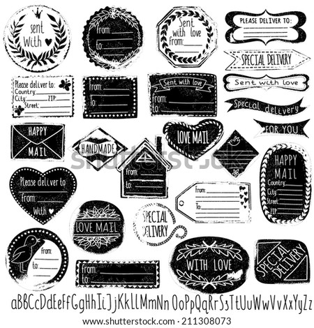 Set of handmade stamps for mail, postage, delivery, address with handdrawn font. Vector illustration. - stock vector