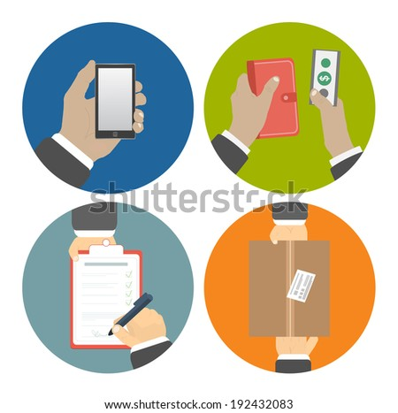 Set of hands clients purchasing. Order of the goods online, payment and delivery. Business concept - stock vector