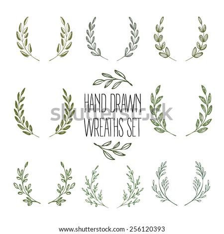 Set of hands drawn decorative wreaths. Vector illustration EPS10 - stock vector