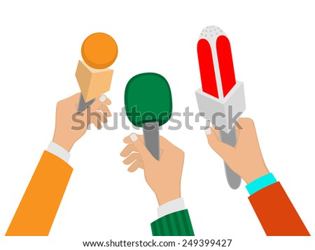 Set of Hands holding a microphone, press conference, vector illustration of a flat icon. - stock vector