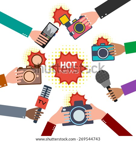 Set of hands holding microphones, voice recorder and cameras. News and journalism concept. Vector illusatration - stock vector