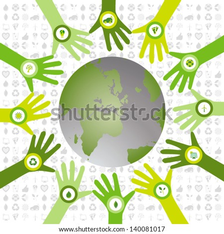 Set of hands in a circle pattern and filled with bio icons waiving to a green environmental and sustainable world - stock vector