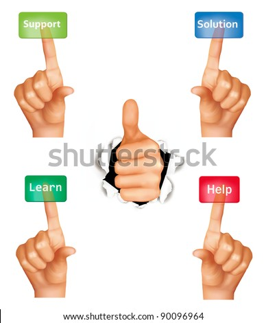 Set of hands pushing different buttons and thumb up. Vector. - stock vector