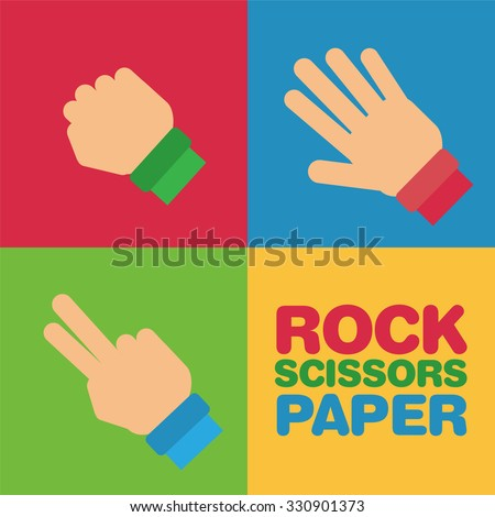 Set of hands with gesture of rock, scissors and paper  - stock vector