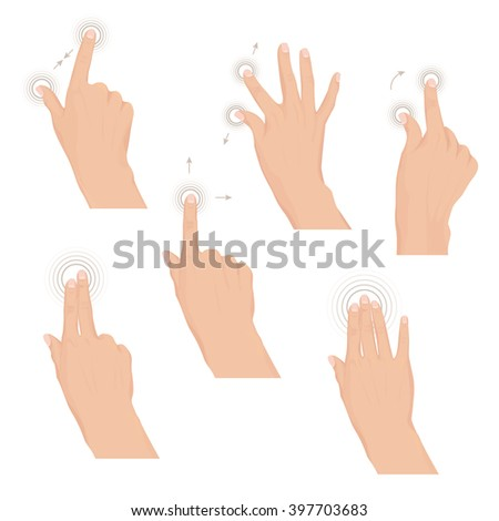 Set of hands with multitouch gestures for tablet or smartphone. Commonly used multitouch gestures for tablets and smartphone. Instruction. Set of rules Vector illustration. Eps 10 - stock vector
