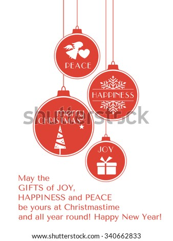 Set of 4 hanging Christmas baubles with Christmas tree, snowflake and angel and the words, joy, peace, happiness and Merry Christmas isolated on white. - stock vector