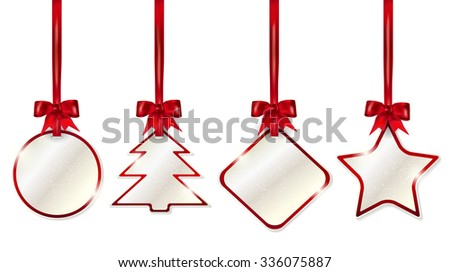 Set of hanging shiny christmas price tags with red bows - isolated on white background. Vector illustration. - stock vector