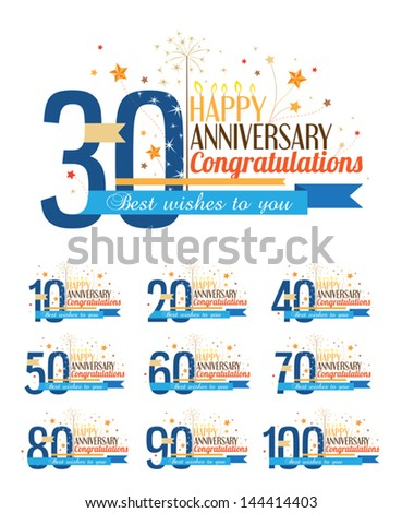 Set of happy anniversary labels. - stock vector