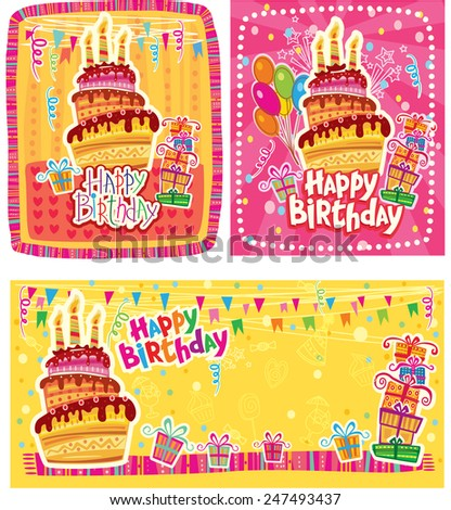 Set of Happy Birthday cards  - stock vector