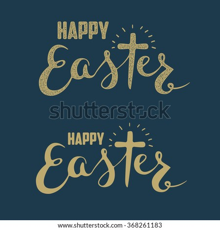 Set of Happy Easter Hand drawn lettering. Design element for greeting card. Vector illustration. - stock vector