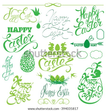 Set of Happy Easter holiday calligraphy. Hand lettering greetings, symbols, icons in green color, isolated on white background. - stock vector