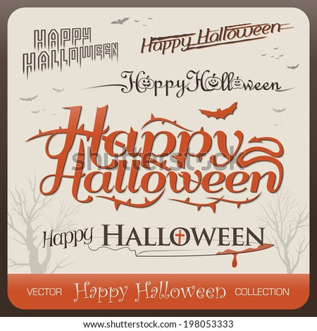 Set of happy halloween greetings typography - stock vector