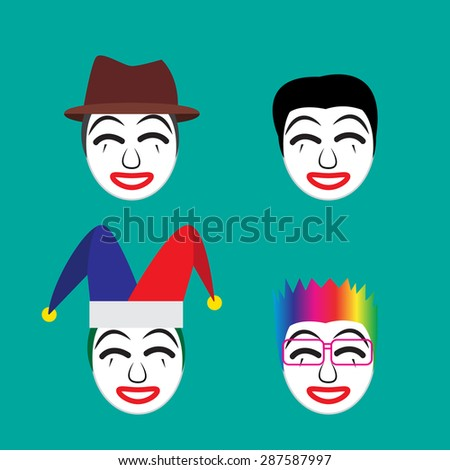 Set of happy joker with rainbow wavy hair,white face and red mouth in flat icon style - stock vector