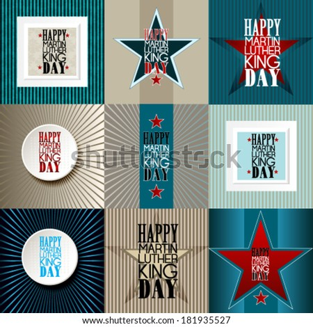 Set of  happy Martin Luther King Day American Background - stock vector