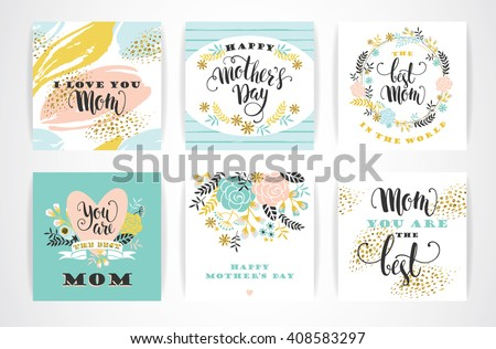 Set of Happy Mothers Day lettering greeting cards with Flowers. Vector illustration. - stock vector