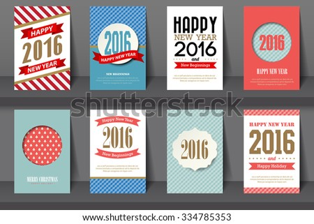 Set of  Happy New Year brochures in vintage style .Vector eps10 - stock vector