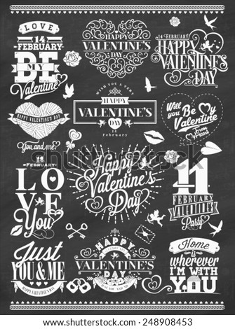 Set Of Happy Valentine's Day Hand Lettering - Typographical Background On Chalkboard With Ornaments, Hearts, Ribbon and Arrow - stock vector