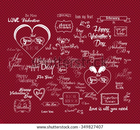 Set Of Happy Valentine's Day Hand Lettering - Typographical Background With Ornaments, Hearts, Ribbon - stock vector