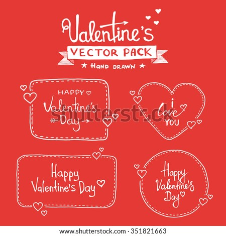 Set Of Happy Valentine's Day Hand Lettering - Typographical Background  With Ornaments, Hearts, Ribbon and Arrow - stock vector