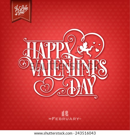 Set Of Happy Valentine's Day  - Typographical Background On Chalkboard, With Ornaments, Hearts, Ribbon and Arrow - stock vector