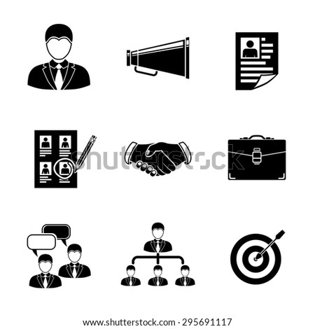 Set of Head Hunter icons with - handshake, resume, mouthpiece, choice, employee, hierarchy, interview, portfolio, target with arrow in center. Vector - stock vector