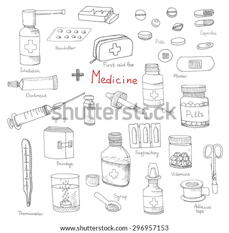 Set of health care and medicine hand drawn icons, doodle medical elements, vector background with wellness freehand drawings. Vector sketch illustration - stock vector