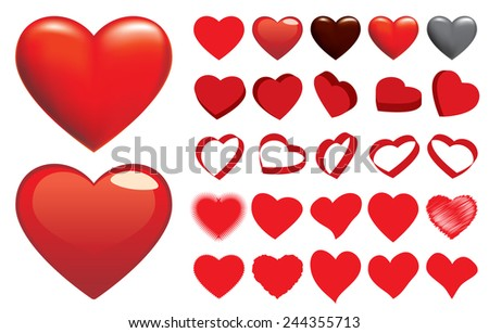 Set of Heart - stock vector
