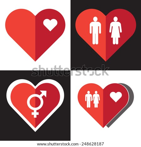 Set of heart icons for Valentine's day.Vector EPS 10. - stock vector