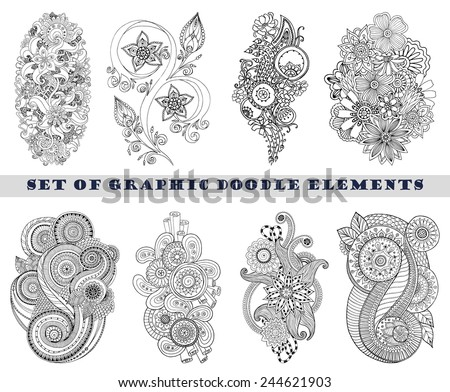 Set of Henna Paisley Mehndi Doodles Abstract Floral Vector Illustration Design Element. Black and White plus Colored Version. - stock vector